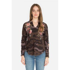 Johnny Was Floral Embroidered Camo Thermal Top